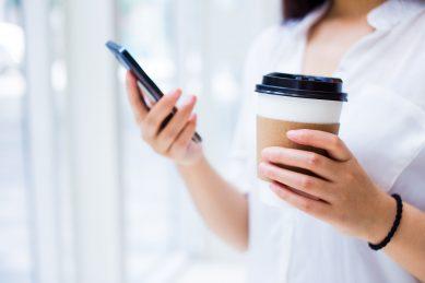 Woman using messenger